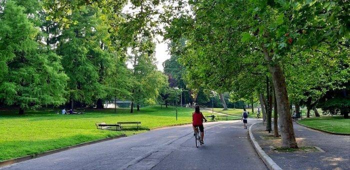 Giardini Margherita with cyclist