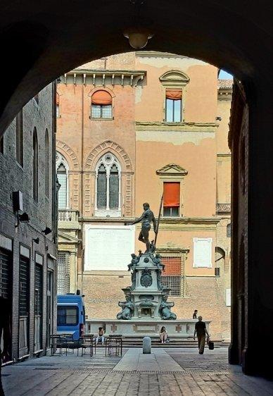 Impressive Neptune Statue from under a portico
