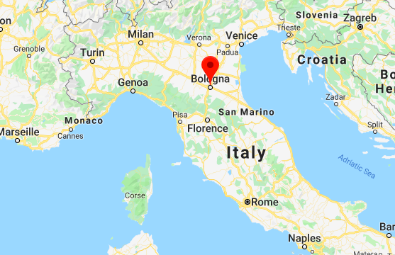 Map of Bologna Italy location