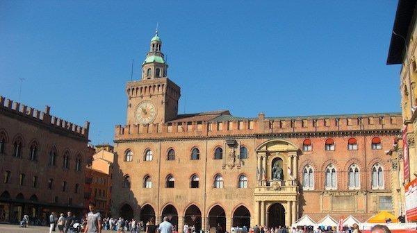 Palazzo d'Accursio Clock tower in Bologna