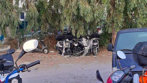 Abandoned motor bikes