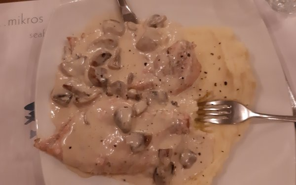 Chicken, mushrooms and garlic mashed potato on Milos