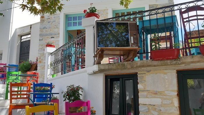 Courtyard cafe in Filoti Naxos Greece