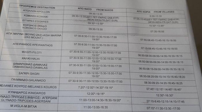 Naxos Village bus schedule