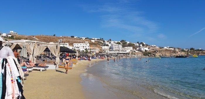Platis Gialos Beach in Mykonos Greece