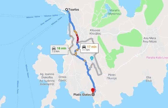 Tourlos Mykonos to Platis Gialos